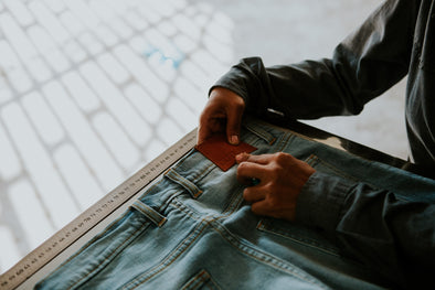 outland denim seamstress checking leather brand patch