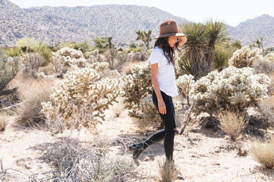 Woman in Joshua Tree wearing outland denim