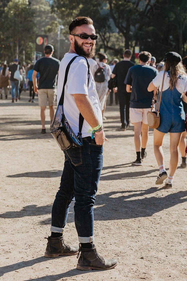 Jamie Azzopardi at Splendour in the grass wearing outland denim