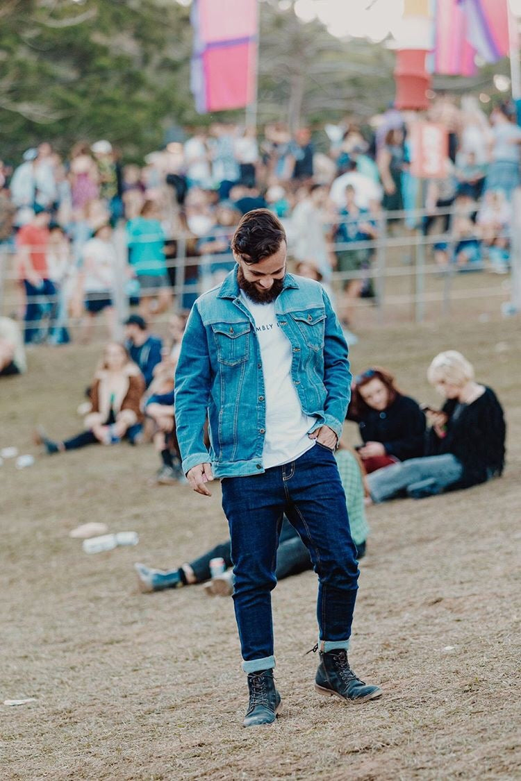 Jamie Azzopardi at Splendour in the grass wearing double outland denim