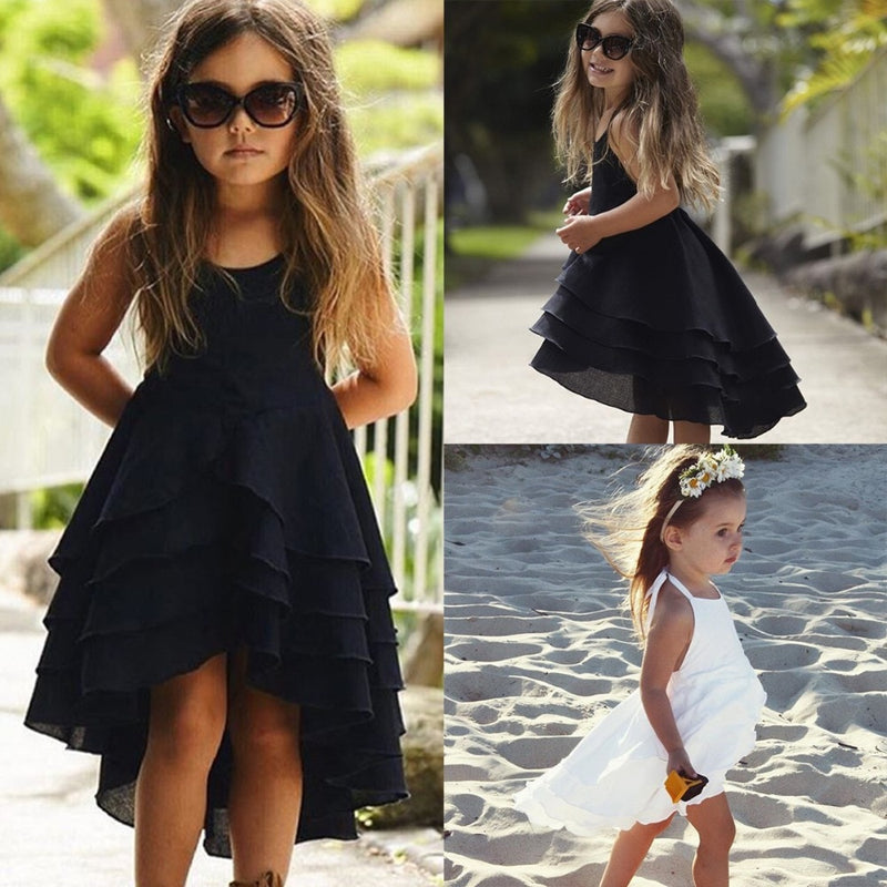 375e767e Kid Baby Girls Clothes Cute Girl Backless Strappy Solid Color Princess Dress  Summer Casual Beach Sundress