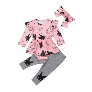 27ad48f0e9a6 Baby Girls Outfits Rabbit Print Romper Long Sleeve Skirt Jumpsuit Long  Solid Pants Set Toddler Autumn