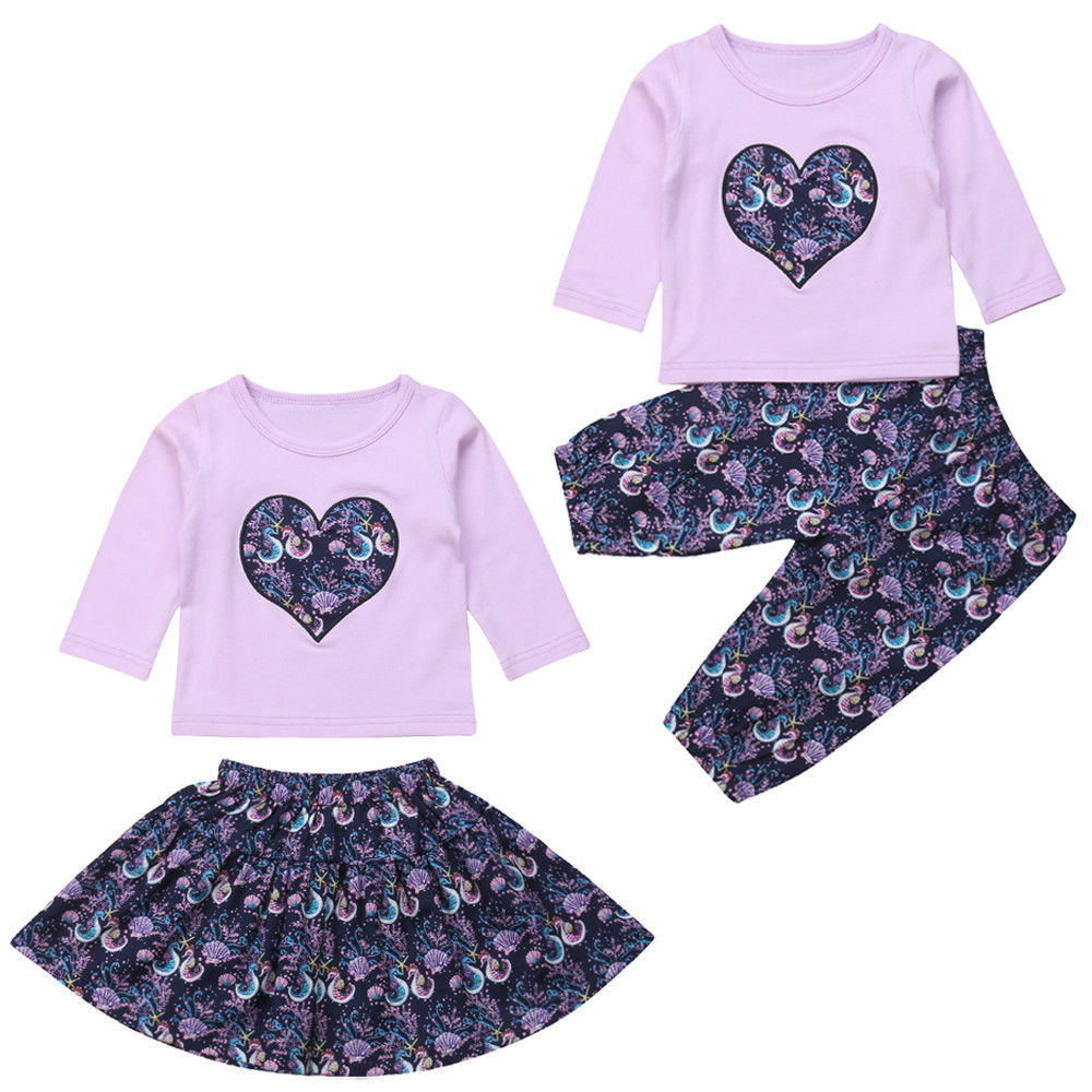 296d837bd 3Pcs Newborn Infant Baby Girls Seahorse Print Floral Clothes Long Sleeve  Tops T shirt Long Pants