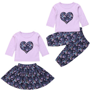 f5acd46971b 3Pcs Newborn Infant Baby Girls Seahorse Print Floral Clothes Long Sleeve  Tops T shirt Long Pants