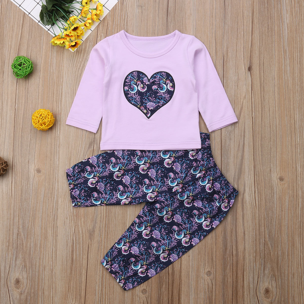 498bab1c1 3Pcs Newborn Infant Baby Girls Seahorse Print Floral Clothes Long Sleeve Tops  T shirt Long Pants