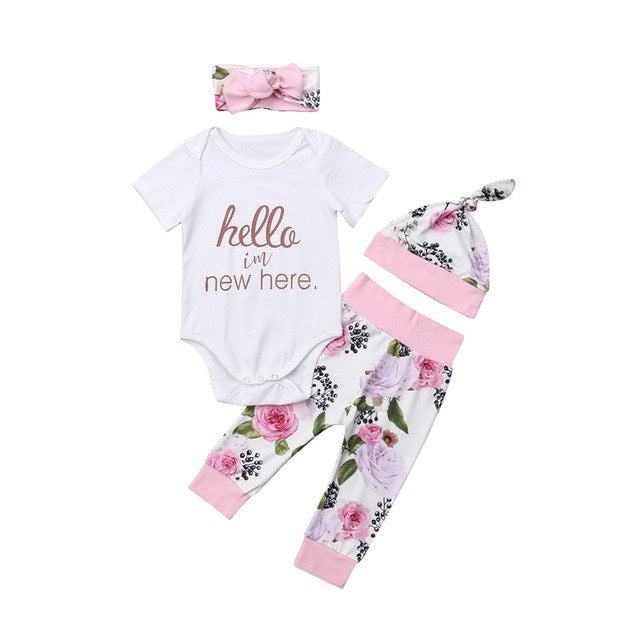28fea7245 hello i'm new here 4pcs Infant Newborn Baby Girls Tops Short Sleeve Romper  Floral