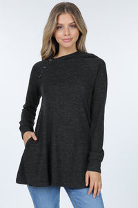 Gina Button Detail Hooded Top