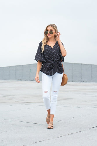 Selena Striped Twist Top