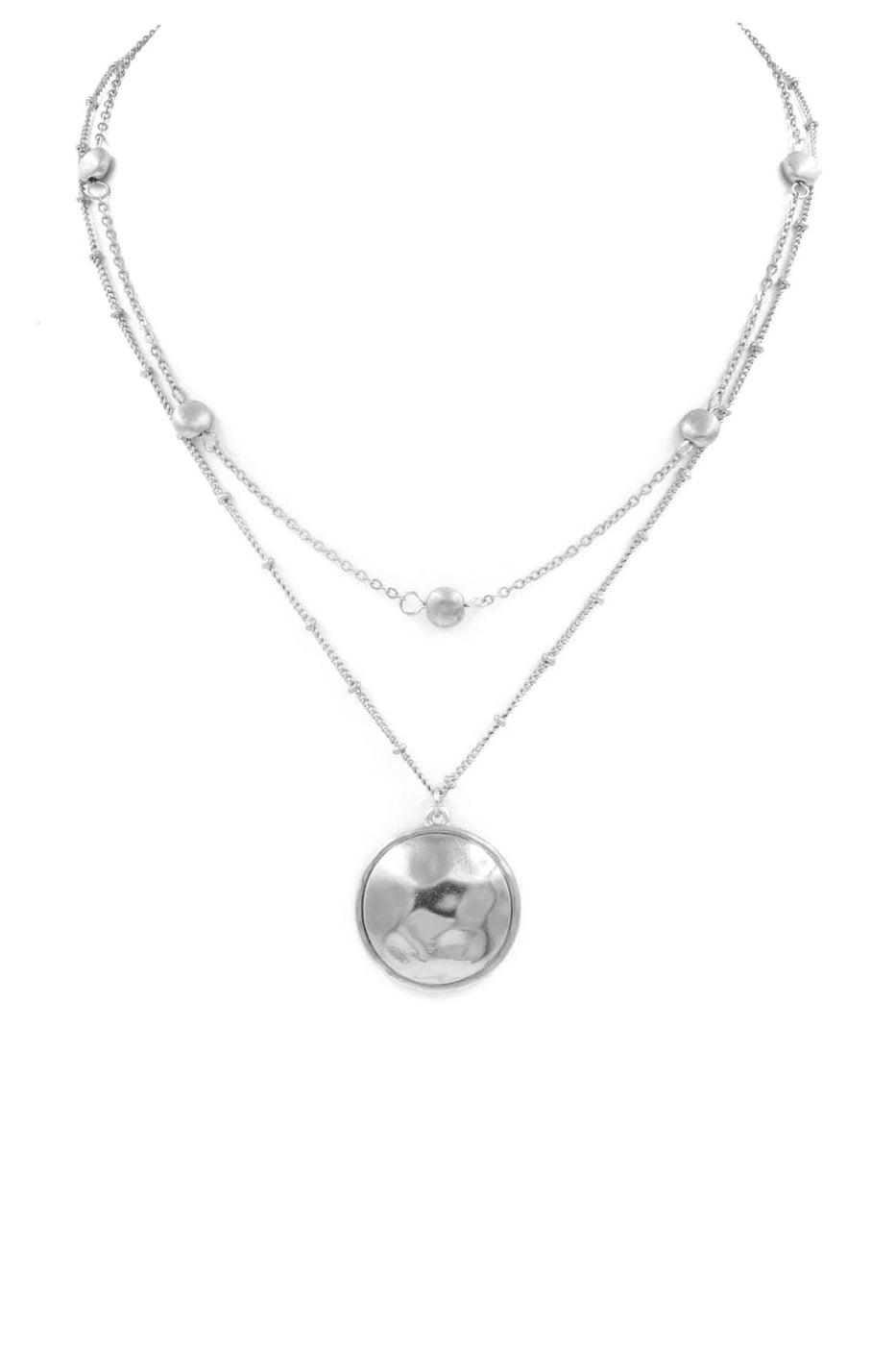 Silver Disc Double Layered Necklace