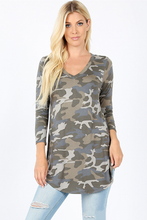 Load image into Gallery viewer, Khloe Camo Tunic Top
