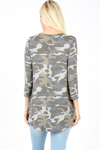 Khloe Camo Tunic Top