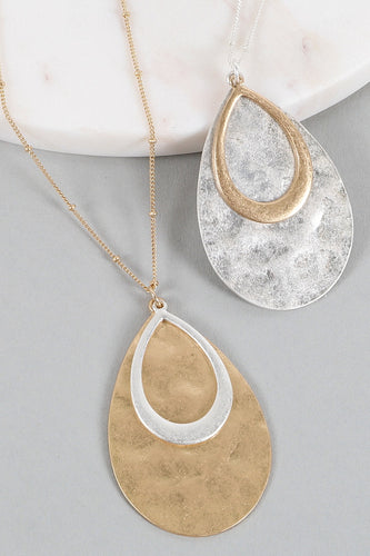 Teardrop Two-Tone Necklace & Earrings