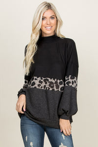 Maya Leopard Color Block Top