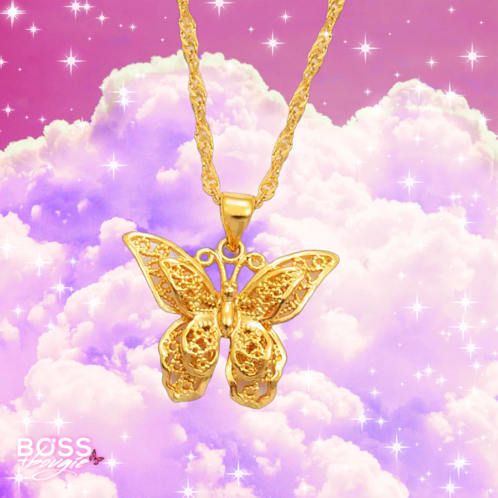24k Butterfly Necklace