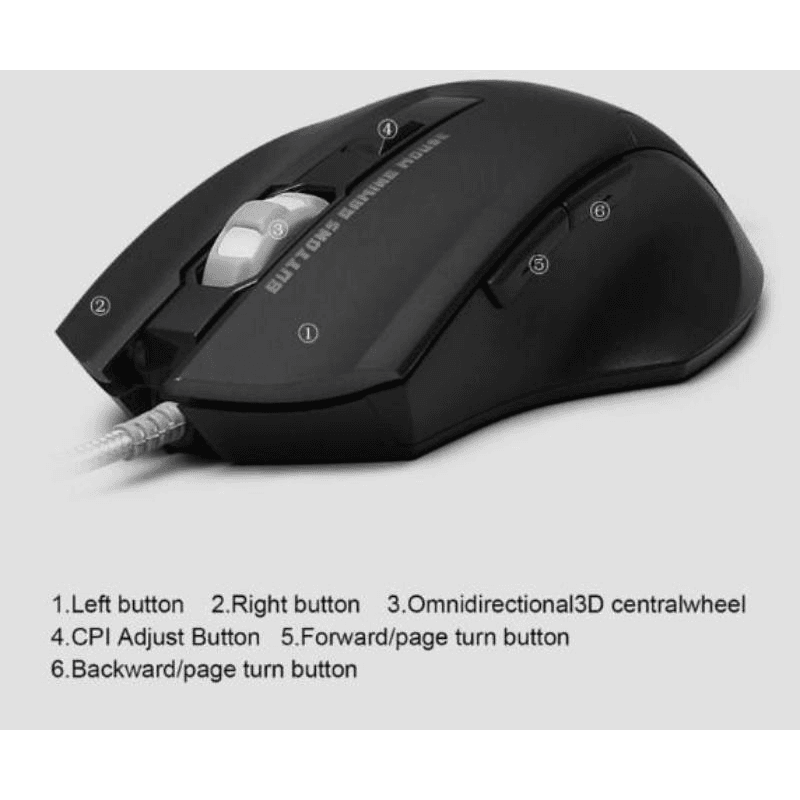 2500 DPI LED Optical Wired Gaming Mouse with 6 Buttons