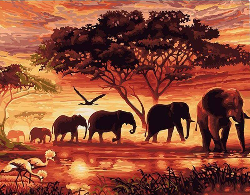 Vintage Sunset Elephant Parade DIY Painting By Number Kit