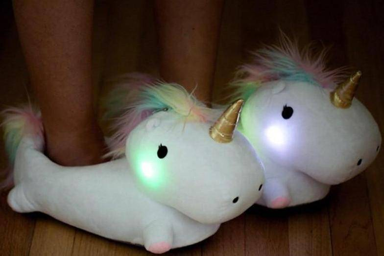 Glowing LED Unicorn Slippers