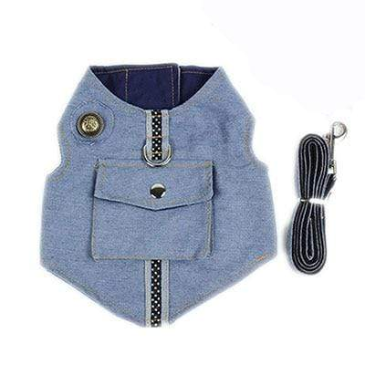 Denim Small Dog Harness Vest