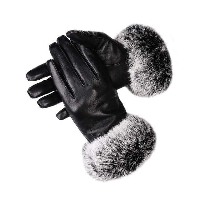 Leather Gloves with Rabbit Fur