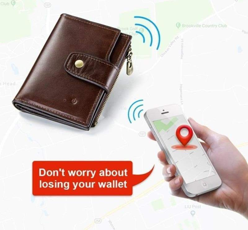 Genuine Leather RFID Wallet with Alarm
