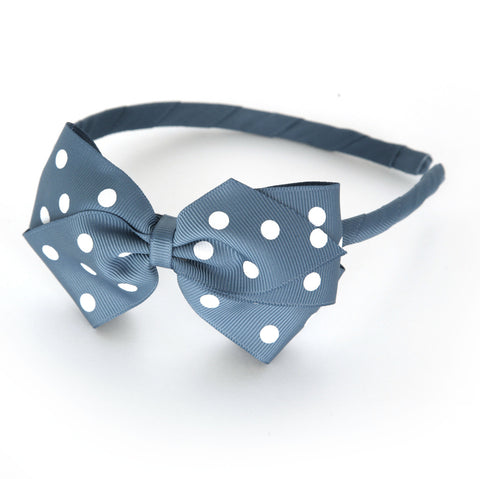 Large Antique Blue Polka Dot Alice Band