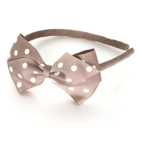Large Antique Mauve Polka Dot Alice Band