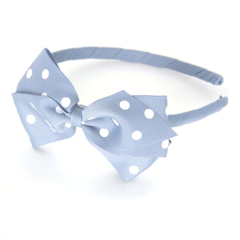Large Bluebell Polka Dot Alice Band