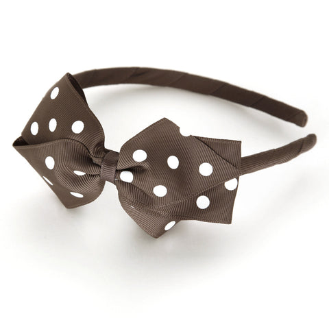 Large Chocolate Chip Polka Dot Alice Band