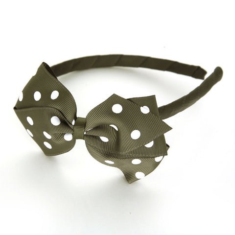 Large Deep Sage Polka Dot Alice Band