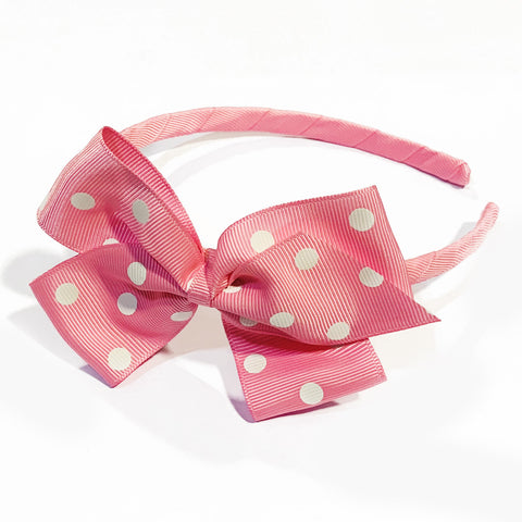 Large Geranium Polka Dot Alice Band