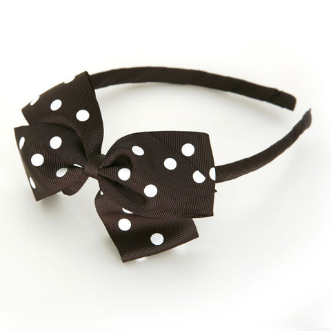 Large Licorice Polka Dot Alice Band
