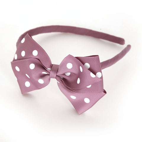 Large Rosy Mauve Polka Dot Alice Band