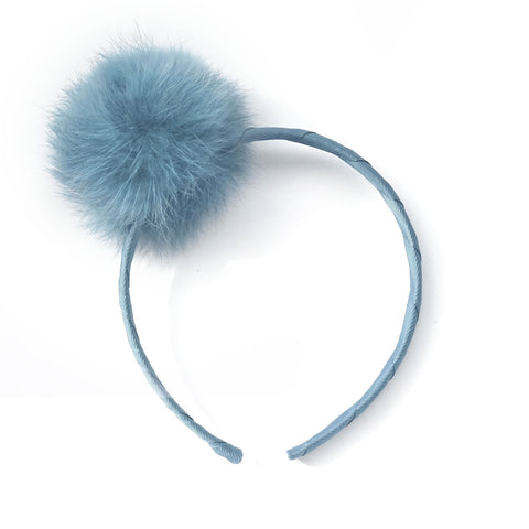 Large Antique Blue Pom Pom Alice Band