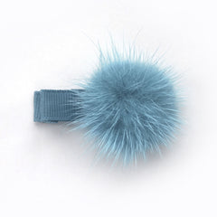 Antique Blue Pom Pom Hair Clip