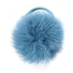 Large Antique Blue Pom Pom Hair Elastic