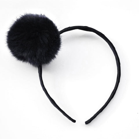 Large Black Pom Pom Alice Band