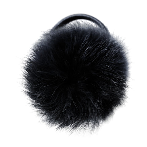 Large Black Pom Pom Hair Elastic
