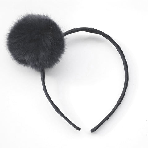 Large Charcoal Pom Pom Alice Band
