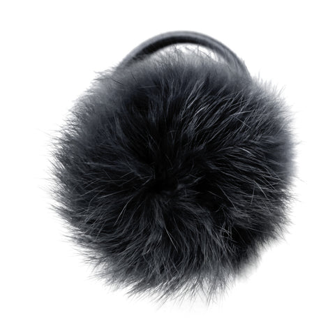 Large Charcoal Pom Pom Hair Elastic