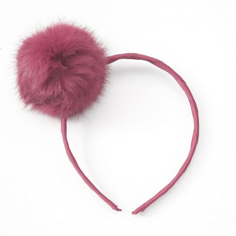 Large Dusty Coral Pom Pom Alice Band