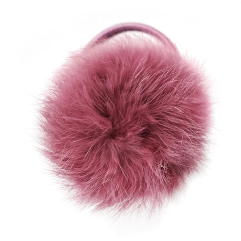 Large Dusty Coral Pom Pom Hair Elastic