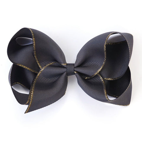 Large Charcoal Gold Edge Hair Clip