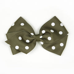 Large Deep Sage Polka Dot Hair Clip
