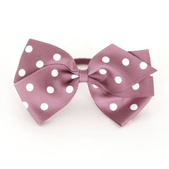 Large Rosy Mauve Polka Dot Hair Elactic