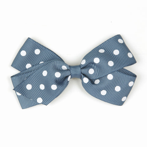 Medium Antique Blue Polka Dot Hair Clip