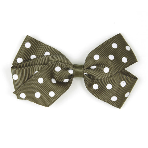 Medium Deep Sage Polka Dot Hair Clip