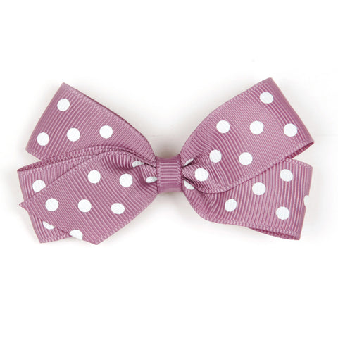 Medium Rosy Mauve Polka Dot Hair Clip