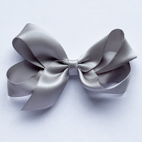 Medium Silver Satin Hair Clip