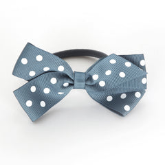 Medium Antique Blue Polka Dot Hair Elastic