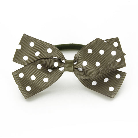Medium Deep Sage Polka Dot Hair Elastic